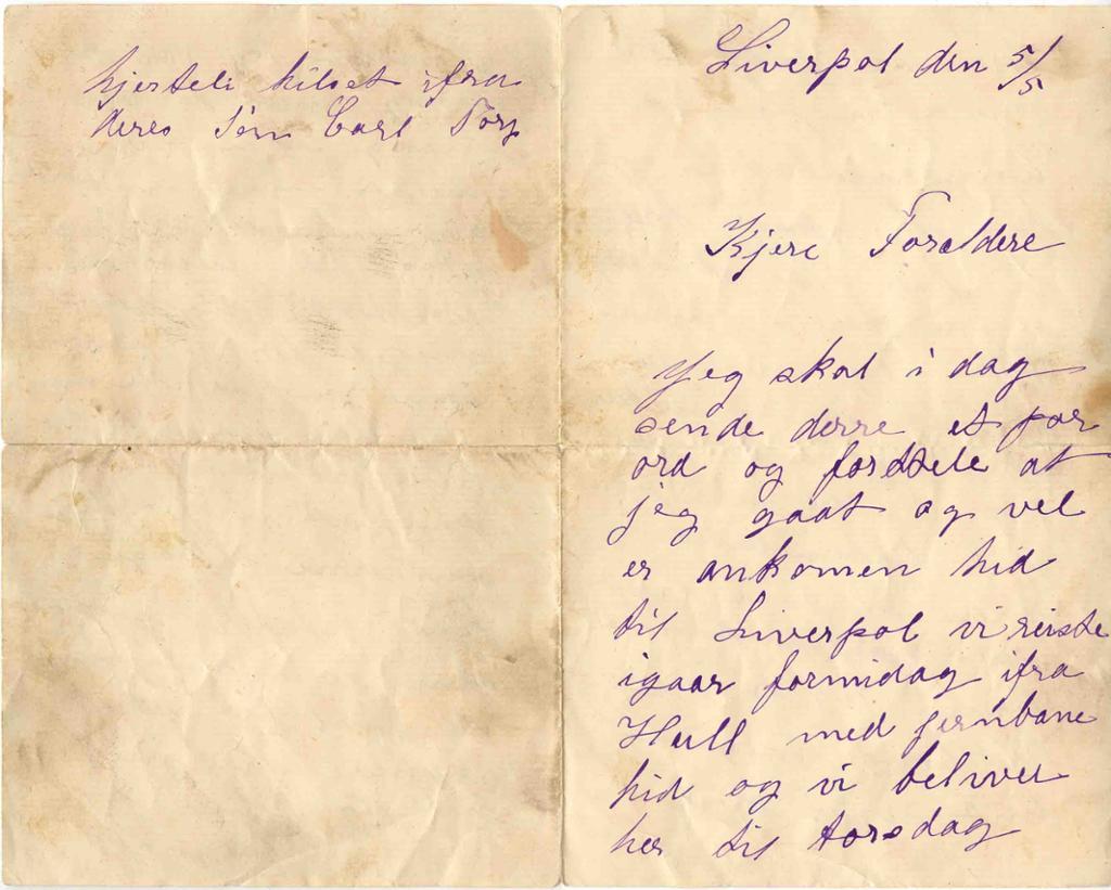 Håndskrevet brev fra atten-nittiårene. Foto.