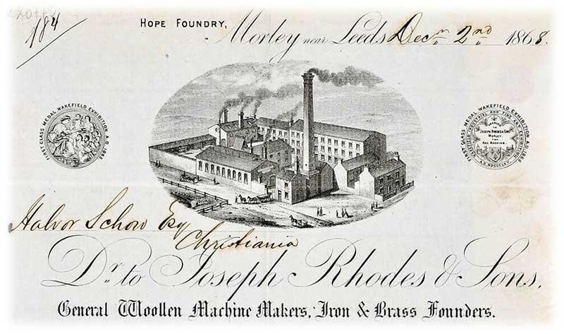 Forsiden av brev til Halvor Schou sendt fra Morley nær Leeds. Bilde av kilde.