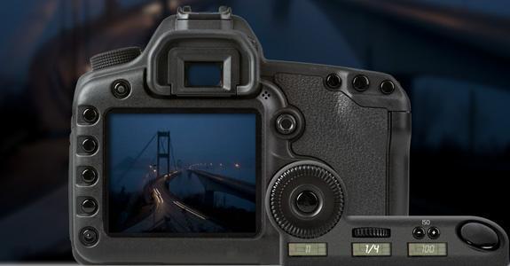 Speilreflekskamera med lukkertidinnstilling på 1/4 sekund. Foto.