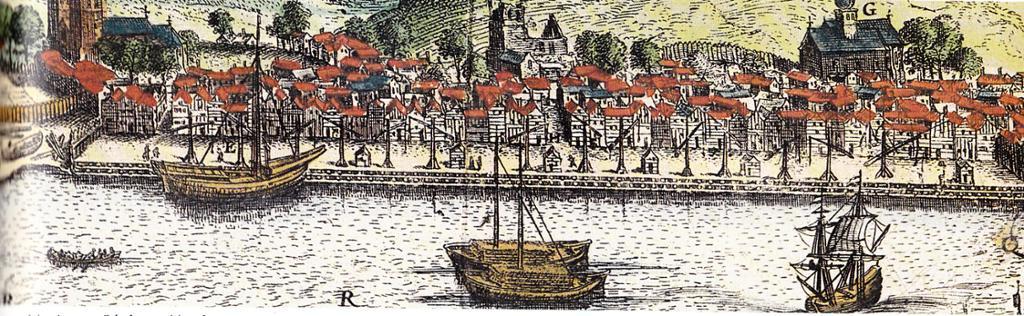Bryggen i Bergen ca 1580. Båter i forkant. Utsnitt av Schoelus-stikket. Illustrasjon.