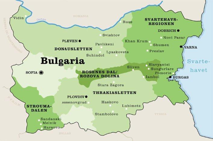 Kart over vinområder i Bulgaria.foto.