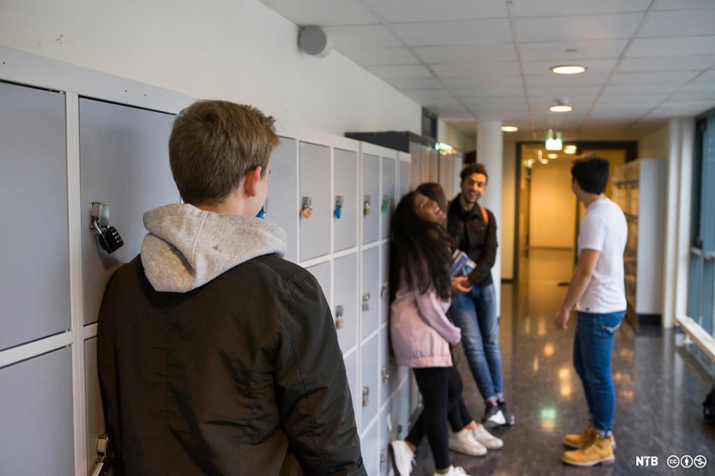 En elev lener seg mot et bokskap og ser bort på fire andre ungdommer som står litt lenger borte og snakker og ler. Foto.