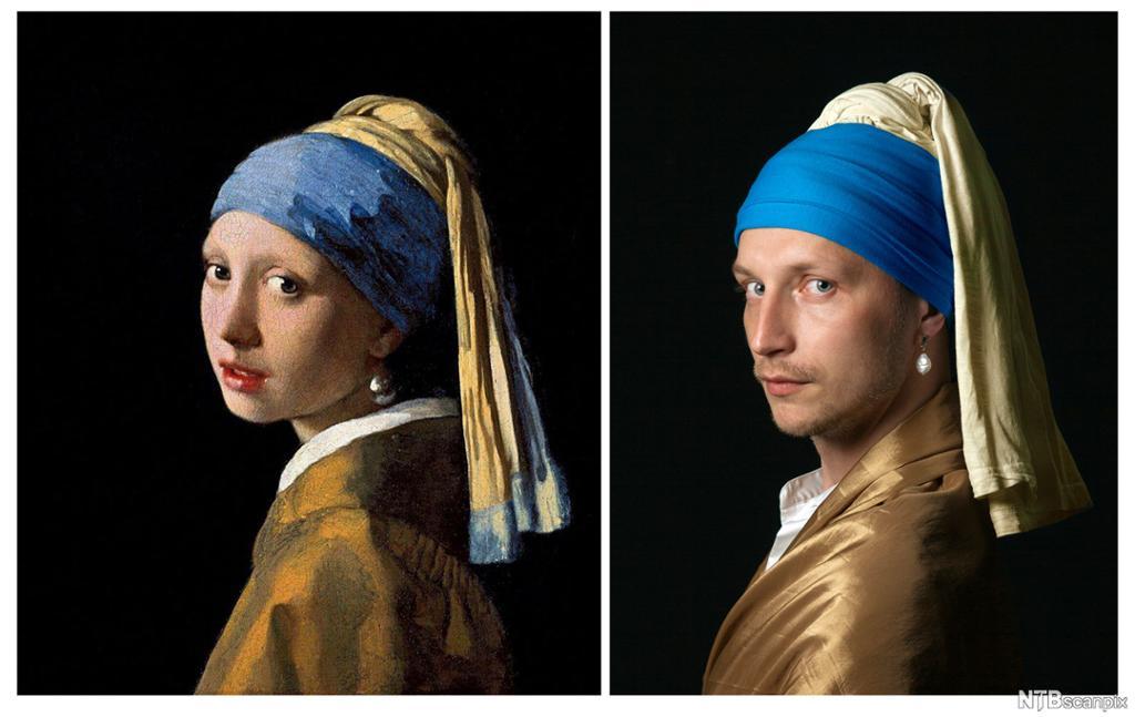 Gjenskapelse av kunstverket Pike med perleøredobb av Johannes Vermeer. Maleri og foto av samme motiv, men i maleriet er det en kvinne og i fotoet en mann.