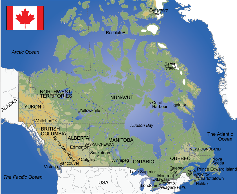 Map over Canada. Illustration.