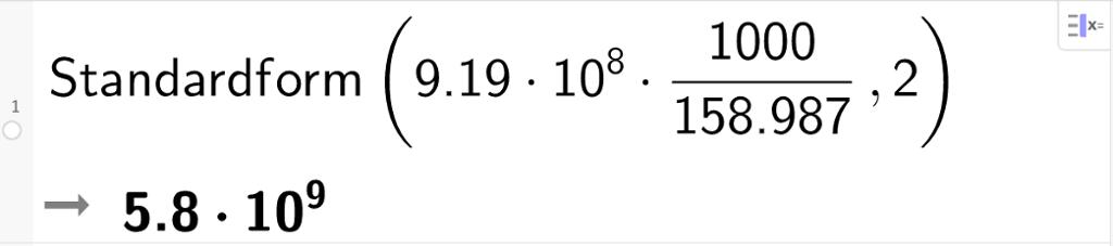 CAS-utregning av 919 multiplisert med 10 opphøyd i sjette. Resultatet er igjen multiplisert med tusen og dividert med 158,987. CAS-utklipp.