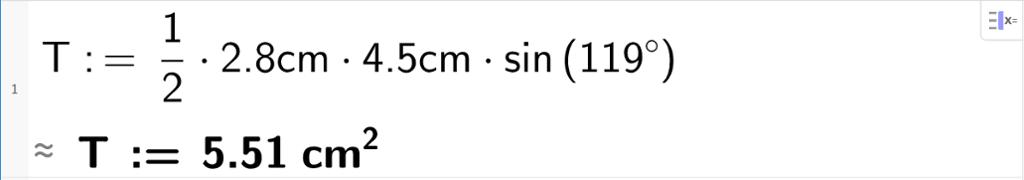 T kolon er lik en halv multiplisert med 4 komma 5 centimeter multiplisert med 2 komma 8 centimeter multiplisert med sinus til 119 grader gir T er lik 5 komma 51 centimeter i andre. CAS-bilde.