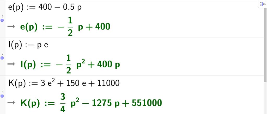 CAS-utklipp av kostnadsfunksjon og inntektsfunksjon der begge er funksjon av prisen p. Utklipp.