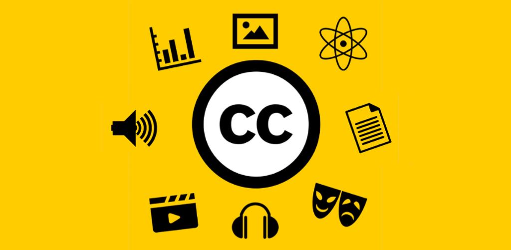 Symboler på innhold og creative commons. Kollasj.