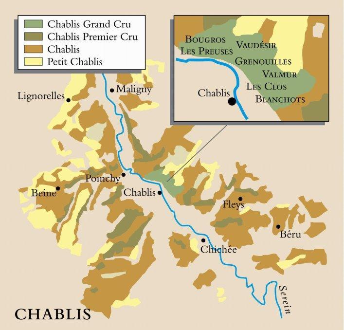 Kart over vinområdet Chablis i Frankrike. Foto.