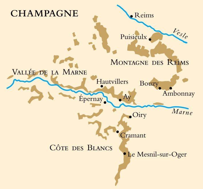 Kart over vinområdet Champagne i Frankrike. Foto.