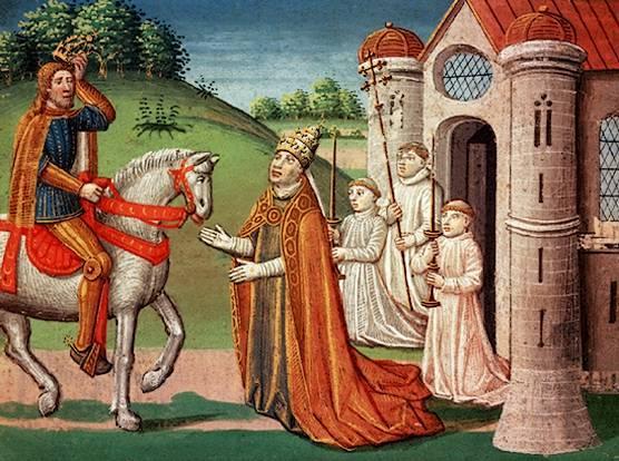 Karl den store møter pave Adrian I nær Roma i 772. Maleri.