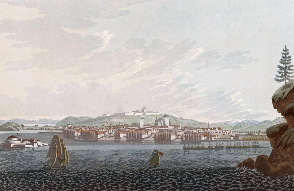 Staden Trondhjem. Maleri.