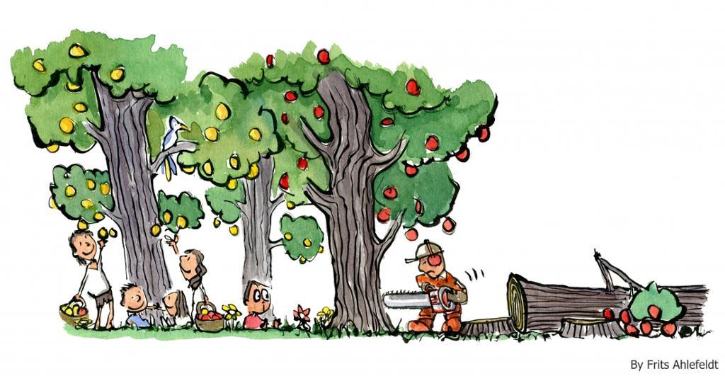 Mann som hogger ned epletrær mens barn plukker epler. Grafikk.