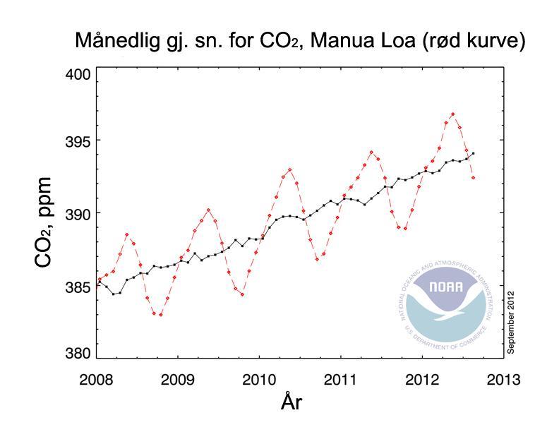 Kurve som viser økt mengde karbondioksid i atmosfæren. Illustrasjon.
