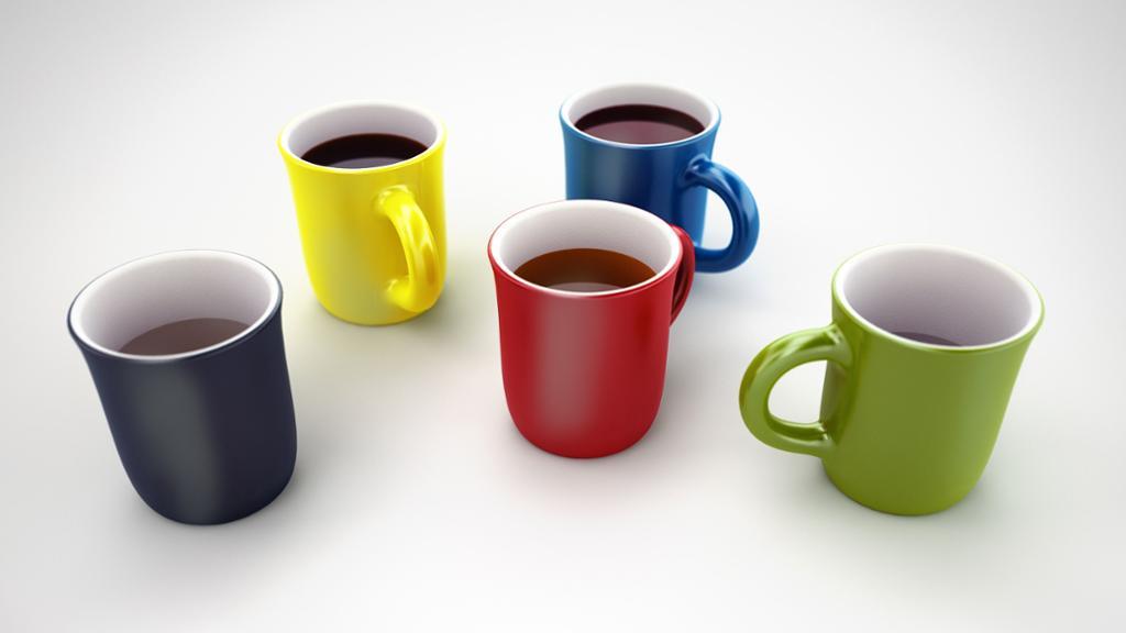 Kaffikoppar i fleire fargar. Foto.
