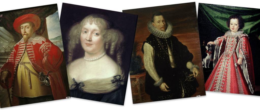 Fire bilder med ulike overdådige klesdrakter fra barokken. Kollasj.
