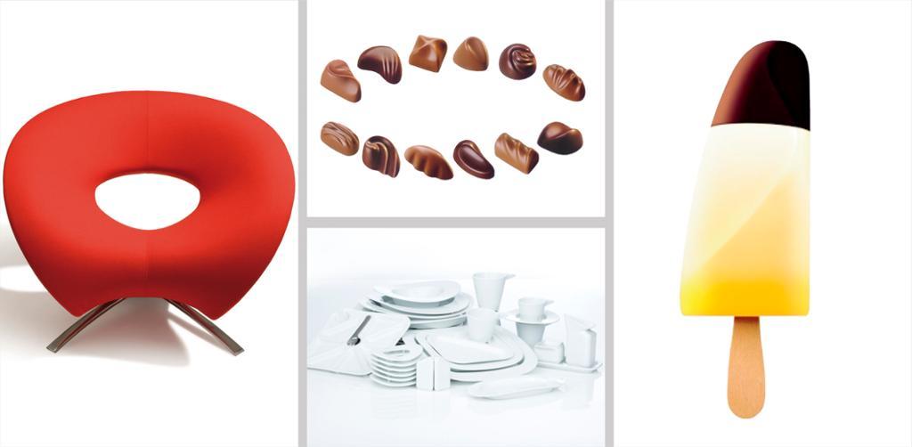 Stol, konfekt, servise og is designet av Johan Verde. Fotokollasj.