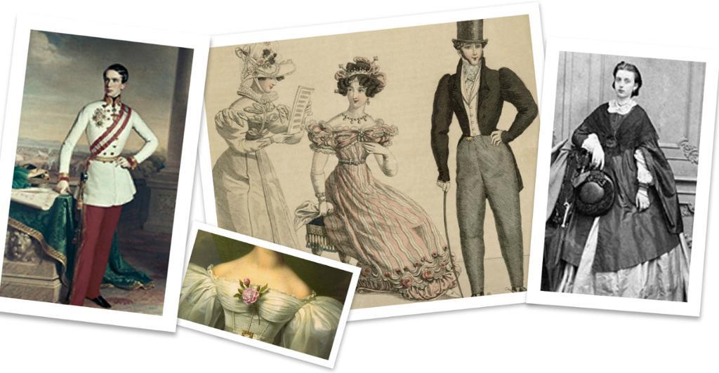 Fire illustrasjonar som viser elegante klesdrakter frå klassisismen.