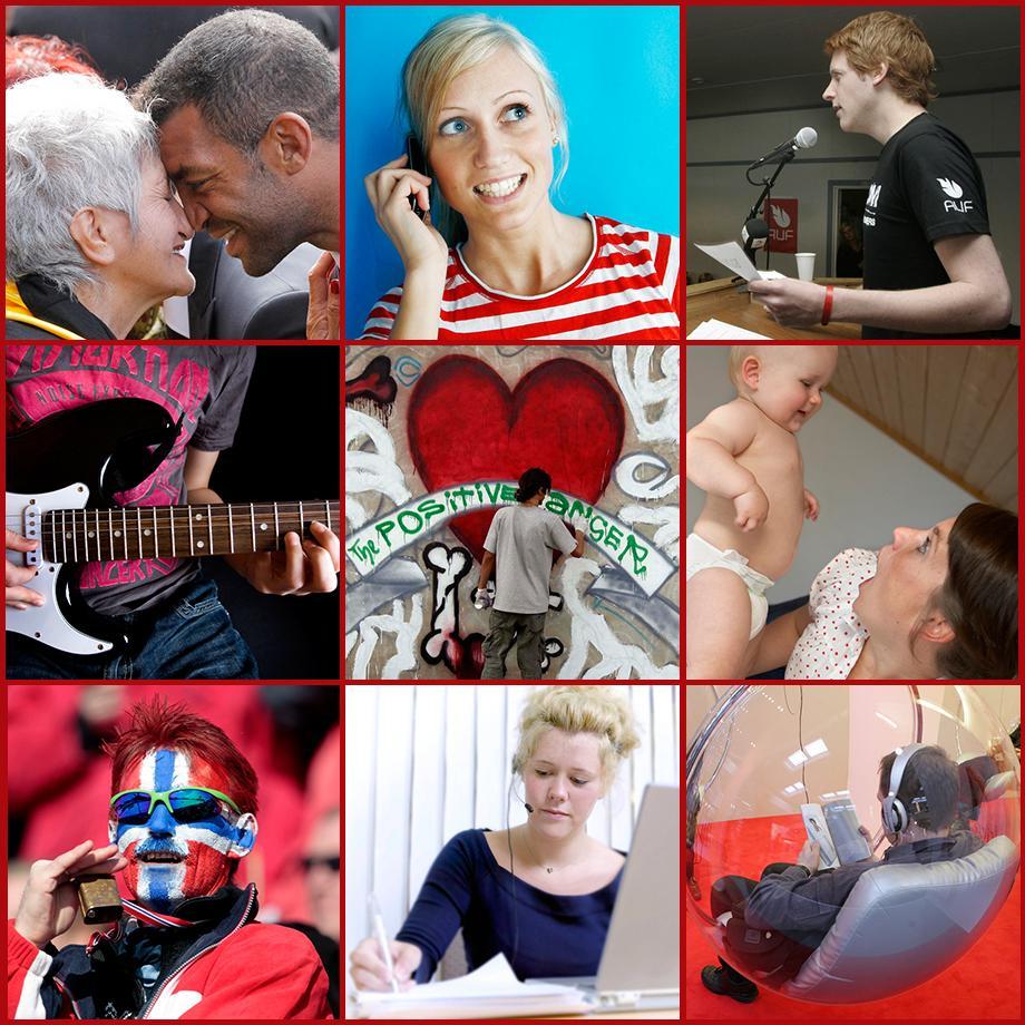 Kollasj som består av ni bilder som viser ulike former for kommunikasjon