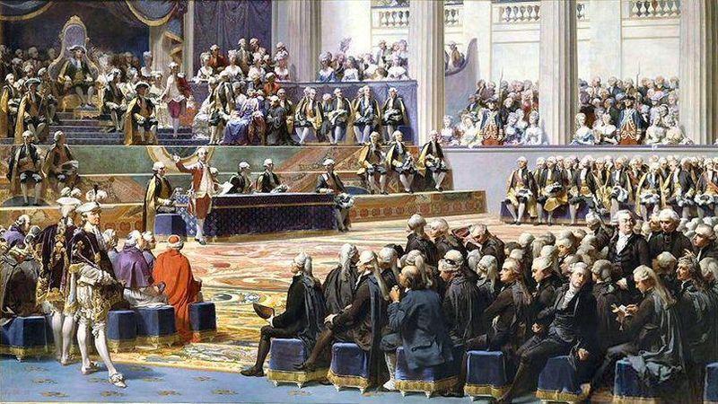 Åpning av den frøste generalforsamlingen i Frankrike i mai 1789. Kong Ludvig den 16. på tronen øverst. Maleri.