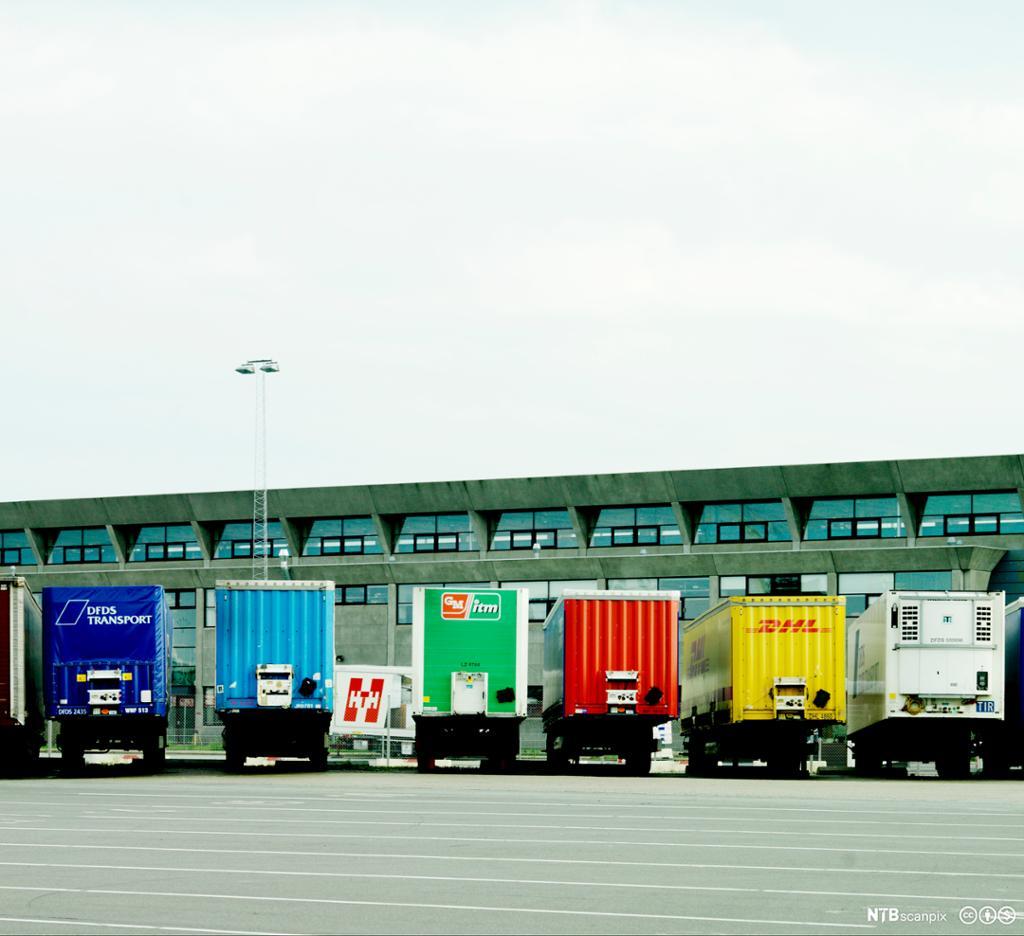 Bakenden på 6 lastebiler med forskjellige farger, parkert foran terminalbygning.foto.