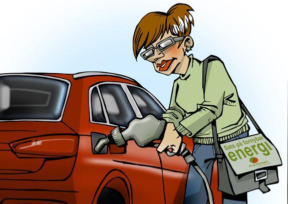 Dame som fyller bensin