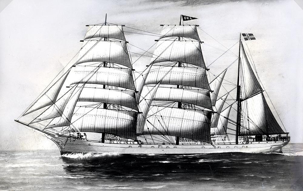 Seilskuta Dea av Kristiansand med fulle seil.