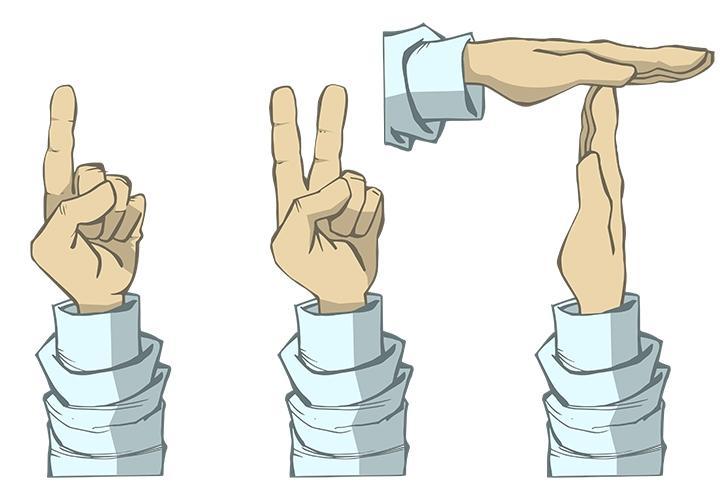 Tegningene viser håndtegnene som kan brukes i diskusjoner. Illustrasjon.