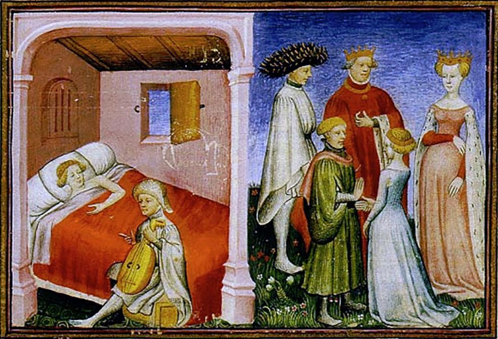 Illustrert manuskript som viser en mann som spiller lutt for en kvinne som ligegr til sengs, og en flokk menn som snakker med en ung kvinne. Faksimile.