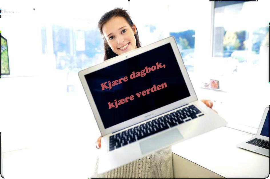 Bilde fra en blogg som viser ei ung jente som holder en pc i hendene