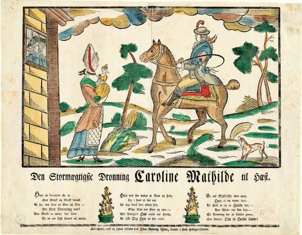 Her rir dronningen over skrevs på hesten som en mann, mens Struensee titter ut av fangehullet på sin elskerinne og deres barn. Illustrasjon.