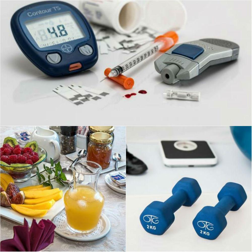 Blodsukkerapparat, sunn mat, trening. Diabetes. Foto.
