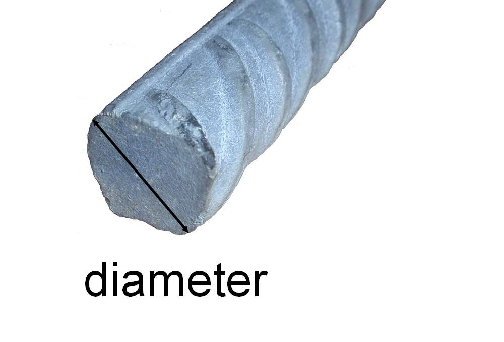 Diameteren i sirkelen på enden av et armeringsjern. Foto.