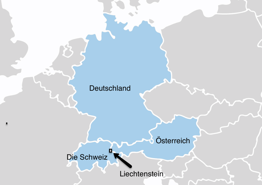 Kart som viser de fire tysktalende landa Tyskland, Østerrike, Sveits og Liechtenstein. Grafikk.