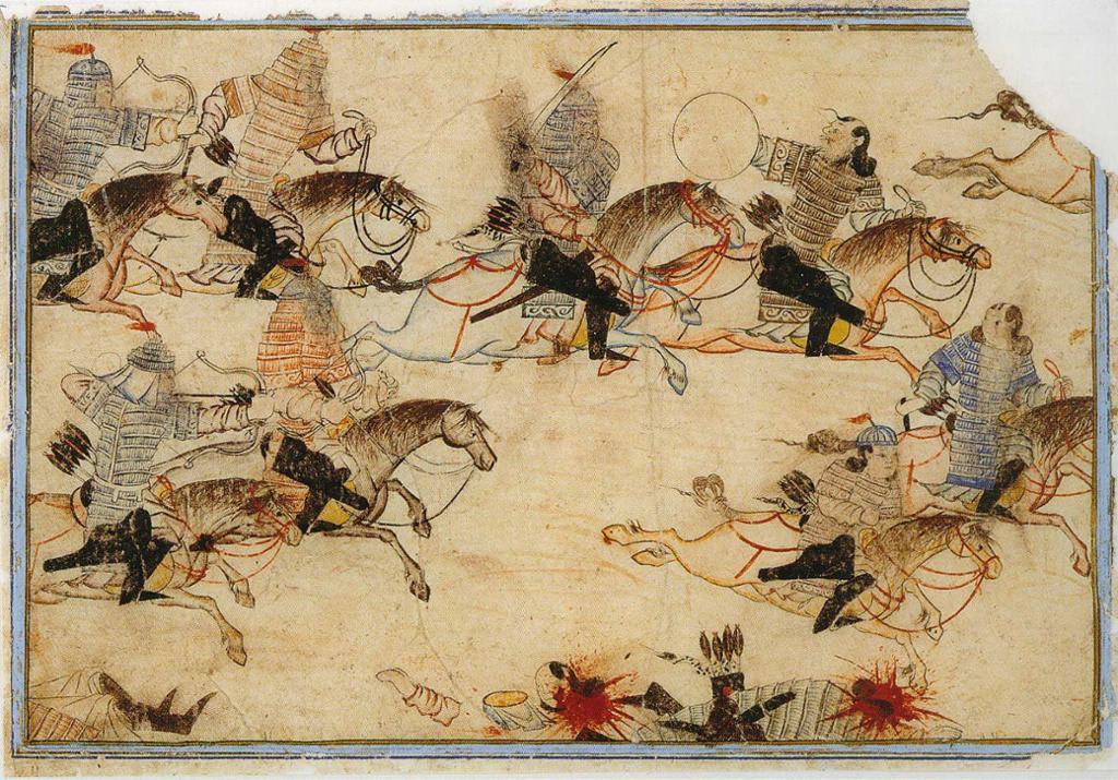 Mongolske krigere jakter på fienden. Illustrasjon.