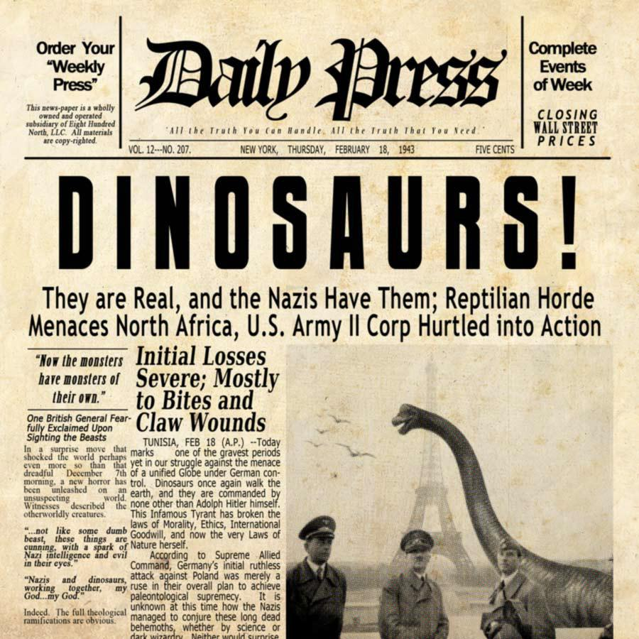 Fake news article on dinosaurs.