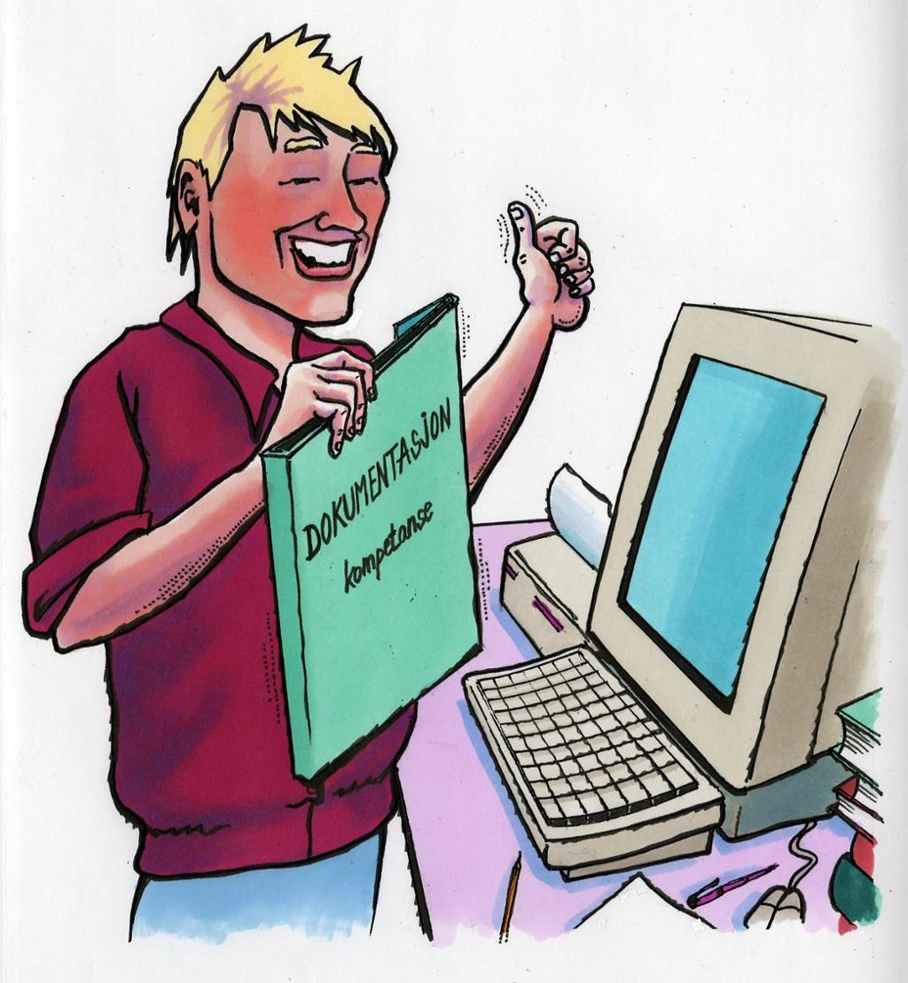 bildet viser en gutt som står med en mappe som det står dokumentasjon på