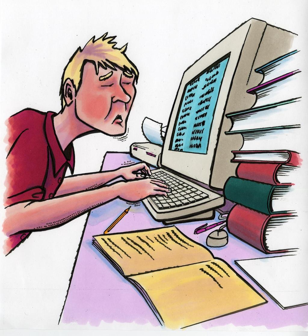 bildet viser en gutt som jobber med dokumentasjonen sin
