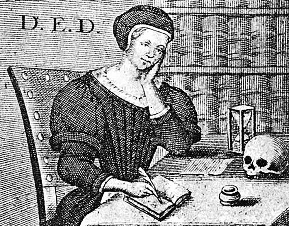 Kvinne som skriver i en bok. På bordet timeglass og dødningeskalle. Illustrasjon.