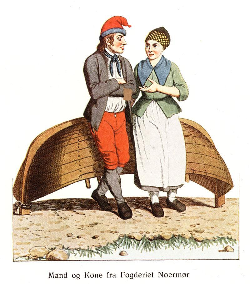 Mann og kone i folkedrakter fra Nordmøre foran en hvelvet robåt, tidlig 1800-tall. Tegning.