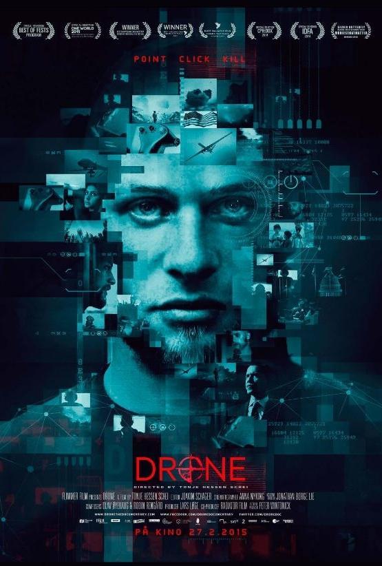 Filmplakat til dokumentarfilmen Drone. Foto.