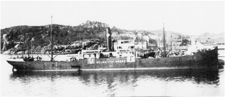 DS Selma hjemme i Kristiansand. Skipet ble minesprengt  25. oktober 1915 på reise fra Middlesbrough til Nantes med  jernlast..Bildet er hentet fra Odd Birkelands samling.