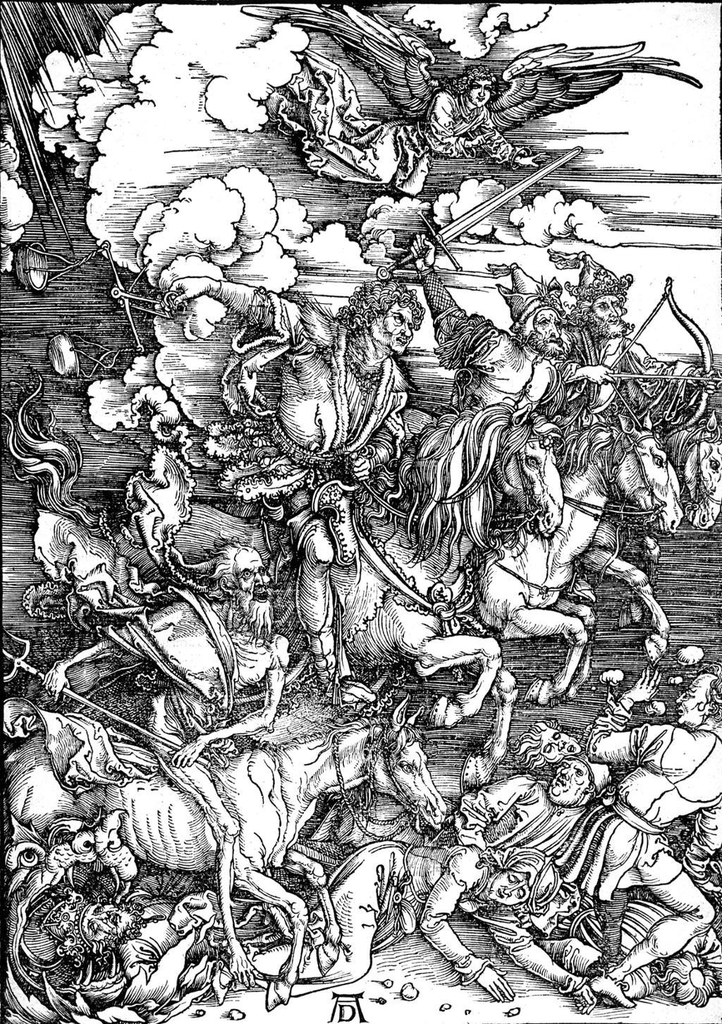Albrecht Düreres tresnitt viser de fire rytterne i Johannes' åpenbaring