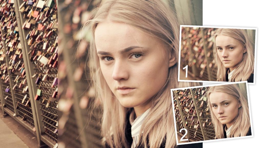 Portrett av en jente som viser forskjellen på stor og liten dybdeskarphet. Foto.