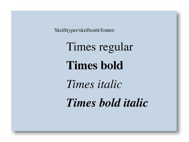 Eksempel på skrift som tilhører sammen skrifttype. Faksimile.