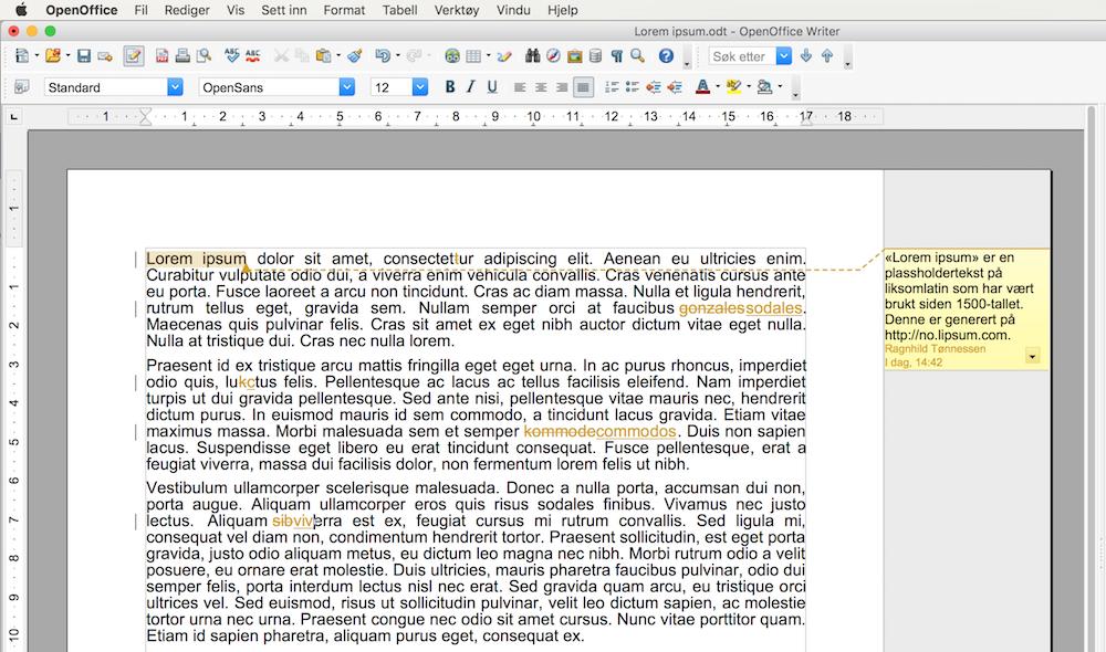 Tekst som viser endringsspor og kommentar i OpenOffice Writer. Skjermdump.