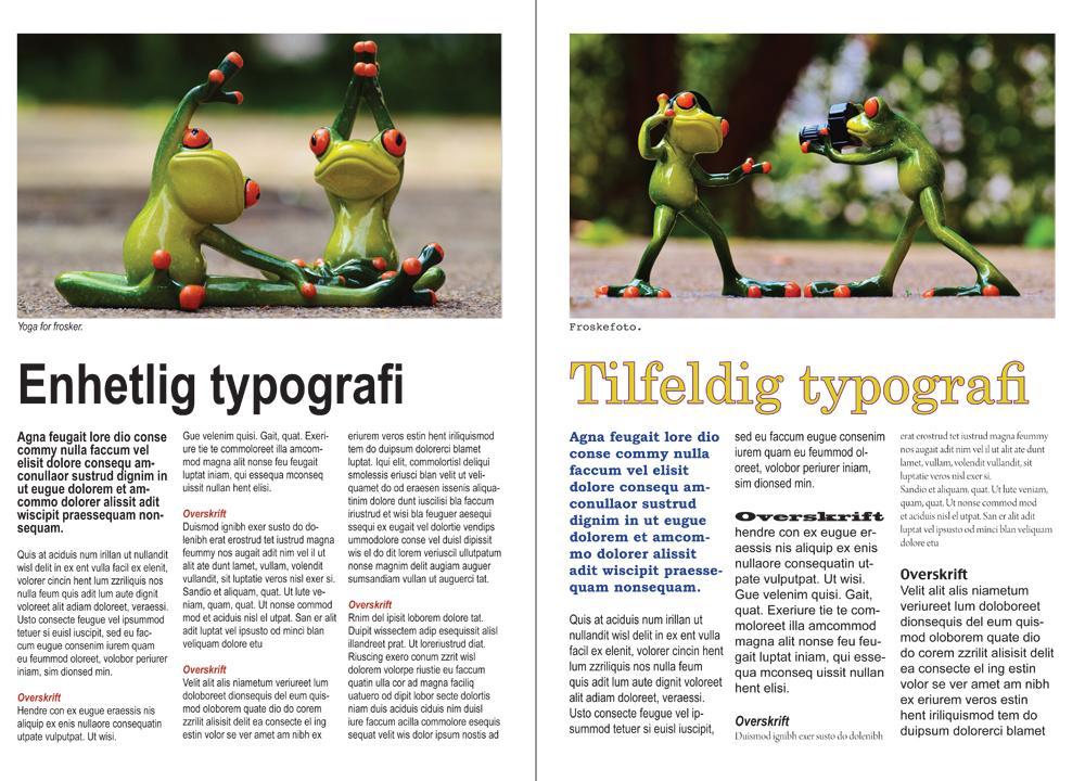 Sammenligning av typografi. Grafisk.