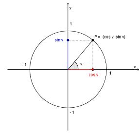 Bilde av en enhetssirkel. Illustrasjon.