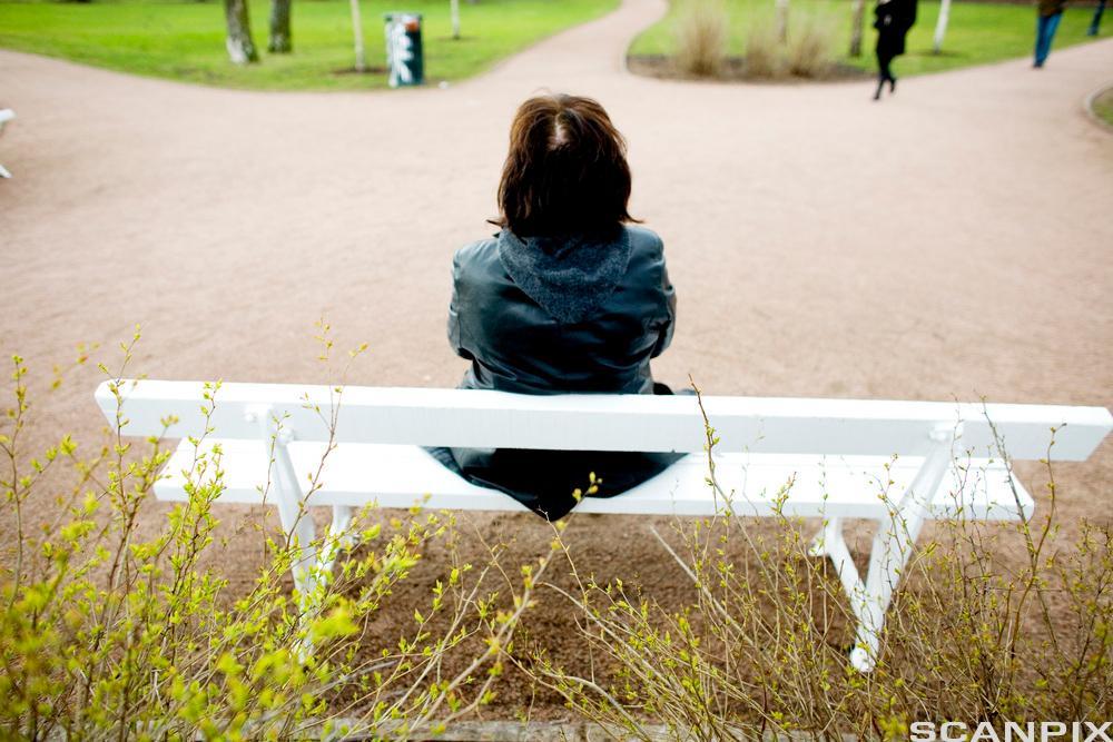 Kvinne på benk med ryggen til. Foto.