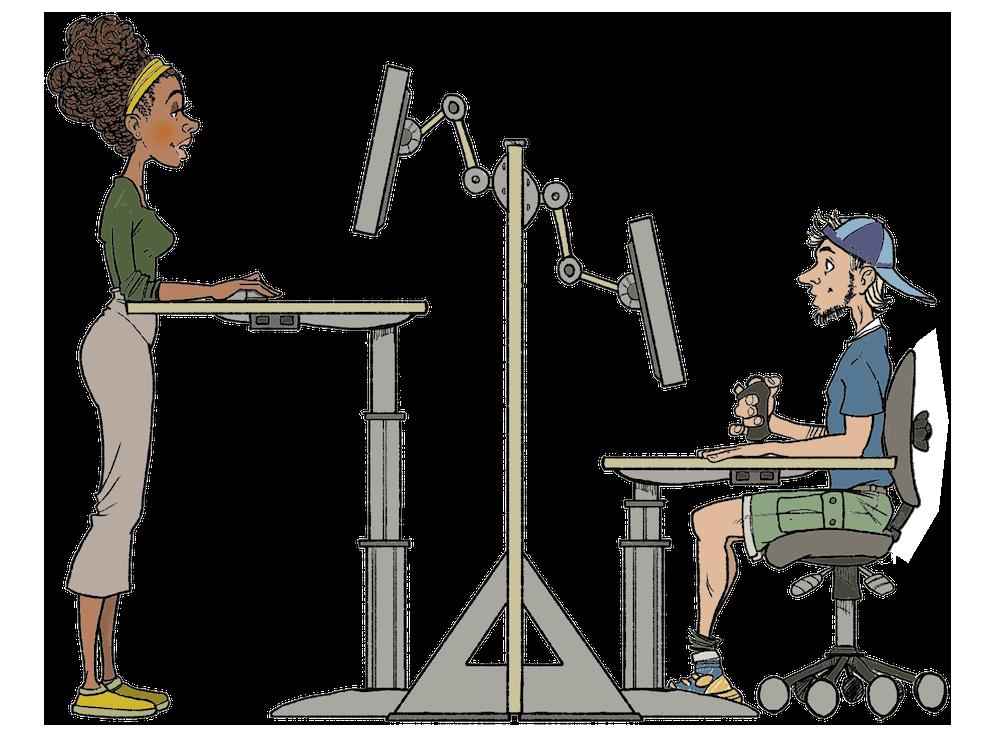 To personer på hver sin dataarbeidplass. Ei kvinne som står og en mann som sitter. Tegning.